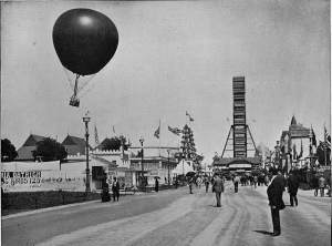The Midway. The balloon pictured was later destroyed in a tornado storm while the Fair was still open.